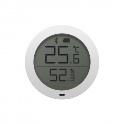 Bluetooth temperature and humidity sensor with LCD display, round